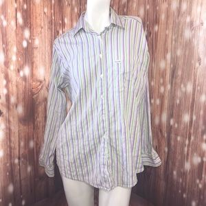 Faconnable Purple Green Striped Long Sleeve Button